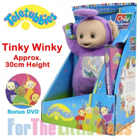 Teletubbies Tinky Winky Purple 30cm Soft Toy with Bonus DVD